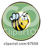 Royalty Free RF Clipart Illustration Of A Smiling Bee Over A Green Circle by Hit Toon