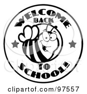Royalty Free RF Clipart Illustration Of A Black And White Welcome Back To School Bee Circle