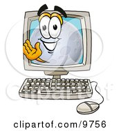 Clipart Picture Of A Moon Mascot Cartoon Character Waving From Inside A Computer Screen by Toons4Biz