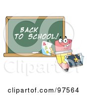 Royalty Free RF Clipart Illustration Of A Pencil Character Holding A Report Card In Front Of A Back To School Chalkboard by Hit Toon