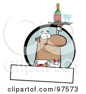 Royalty Free RF Clipart Illustration Of A Pleasant Hispanic Butler Serving Wine Over A Blank Text Box by Hit Toon
