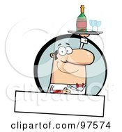 Royalty Free RF Clipart Illustration Of A Pleasant Caucasian Butler Serving Wine Over A Blank Text Box by Hit Toon