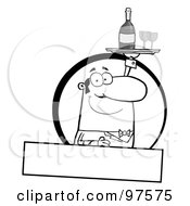 Royalty Free RF Clipart Illustration Of A Pleasant Outlined Butler Serving Wine Over A Blank Text Box by Hit Toon