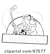 Royalty Free RF Clipart Illustration Of A Black And White Ice Hockey Bear Swinging A Stick Over A Blank Box by Hit Toon