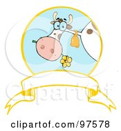 Royalty Free RF Clipart Illustration Of A Dairy Farm Cow Eating A Flower In A Circle Over A Blank White Banner