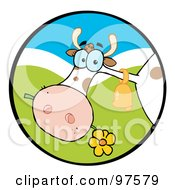 Royalty Free RF Clipart Illustration Of A Farm Cow Munching On A Flower In A Hilly Landscape Circle