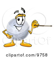 Clipart Picture Of A Moon Mascot Cartoon Character Holding A Pointer Stick by Toons4Biz