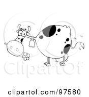 Royalty Free RF Clipart Illustration Of A Black And White Farm Cow Eating A Flower
