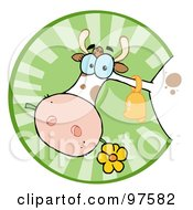 Royalty Free RF Clipart Illustration Of A Farm Cow Munching On A Flower In A Green Circle