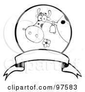 Royalty Free RF Clipart Illustration Of A Black And White Dairy Farm Cow Eating A Flower In A Circle Over A Blank Banner