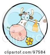 Royalty Free RF Clipart Illustration Of A Farm Cow Munching On A Flower In A Blue Circle