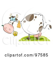 Royalty Free RF Clipart Illustration Of A Stinky Farm Cow Eating A Flower