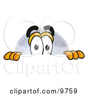 Clipart Picture Of A Moon Mascot Cartoon Character Peeking Over A Surface
