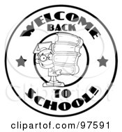Royalty Free RF Clipart Illustration Of A Black And White School Boy With Books On A Welcome Back To School Circle