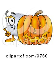 Moon Mascot Cartoon Character With A Carved Halloween Pumpkin