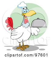 Royalty Free RF Clipart Illustration Of A Rooster Bird Chef Serving A Platter