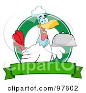 Royalty Free RF Clipart Illustration Of A Rooster Chef Serving A Platter Over A Circle And Blank Green Banner