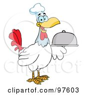 Royalty Free RF Clipart Illustration Of A Happy Rooster Chef Serving A Platter