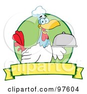 Royalty Free RF Clipart Illustration Of A Rooster Chef Serving A Platter Over A Circle And Blank Yellow Banner