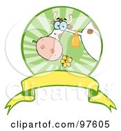 Royalty Free RF Clipart Illustration Of A Dairy Farm Cow Eating A Flower In A Circle Over A Blank Banner by Hit Toon