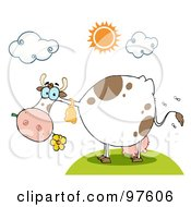 Royalty Free RF Clipart Illustration Of A Dairy Farm Cow Eating A Flower by Hit Toon