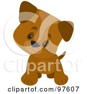 Royalty Free RF Clipart Illustration Of A Playful Brown Puppy With Large Paws Cocking His Head And Facing Forward