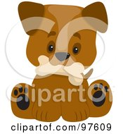 Royalty Free RF Clipart Illustration Of A Cute Puppy With A Big Head Sitting And Holding A Dog Bone In His Mouth