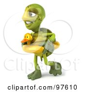 Royalty Free RF Clipart Illustration Of A 3d Chuck Tortoise Walking And Wearing A Ducky Inner Tube