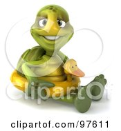Royalty Free RF Clipart Illustration Of A 3d Chuck Tortoise Sitting And Wearing A Ducky Inner Tube