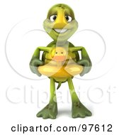 Royalty Free RF Clipart Illustration Of A 3d Chuck Tortoise Standing And Wearing A Ducky Inner Tube