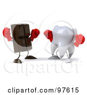 3d Dental Tooth Character Boxing With A Chocolate Bar