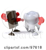 Royalty Free RF Clipart Illustration Of A 3d Dental Tooth Character Punching A Chocolate Bar