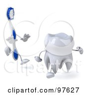 Royalty Free RF Clipart Illustration Of A 3d Dental Tooth Character Running From A Toothbrush