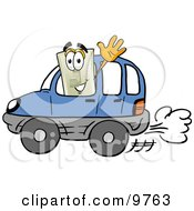 Clipart Picture Of A Light Switch Mascot Cartoon Character Driving A Blue Car And Waving by Toons4Biz
