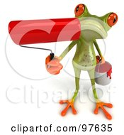 Royalty Free RF Clipart Illustration Of A 3d Springer Frog Holding Up A Red Paint Roller