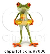 Royalty Free RF Clipart Illustration Of A 3d Springer Frog Standing And Wearing A Ducky Inner Tube