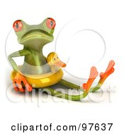 Royalty Free RF Clipart Illustration Of A 3d Springer Frog Sitting And Wearing A Ducky Inner Tube