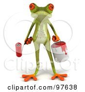 Royalty Free RF Clipart Illustration Of A 3d Springer Frog Facing Front And Carrying A Paint Bucket And Roller