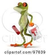 Royalty Free RF Clipart Illustration Of A 3d Springer Frog Walking And Carrying A Paint Bucket And Roller