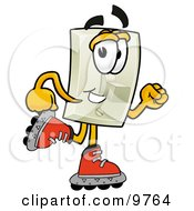 Clipart Picture Of A Light Switch Mascot Cartoon Character Roller Blading On Inline Skates