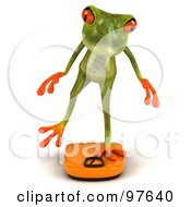 Royalty Free RF Clipart Illustration Of A 3d Springer Frog Balancing On An Orange Scale With One Leg Pose 1