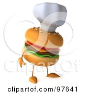 Royalty Free RF Clipart Illustration Of A 3d Cheeseburger Chef Wearing A Hat And Facing Right
