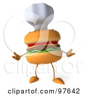 Royalty Free RF Clipart Illustration Of A 3d Cheeseburger Chef Wearing A Hat And Facing Front