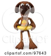 Royalty Free RF Clipart Illustration Of A 3d Brown Pooch Standing And Facing Front While Wearing A Duck Floatie Ring