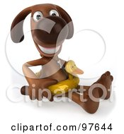 Royalty Free RF Clipart Illustration Of A 3d Brown Pooch Sitting While Wearing A Duck Floatie Ring