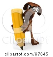 Royalty Free RF Clipart Illustration Of A 3d Brown Pooch Facing Front Wearing Glasses And Using A Giant Pencil