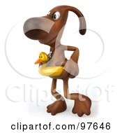 Royalty Free RF Clipart Illustration Of A 3d Brown Pooch Walking Left While Wearing A Duck Floatie Ring