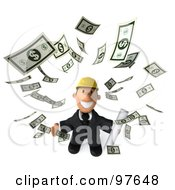 Royalty Free RF Clipart Illustration Of A 3d Male Architect Surrounded By Falling Cash