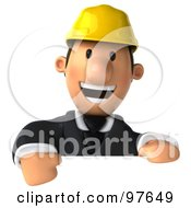 3d Male Architect Smiling Over A Blank Sign
