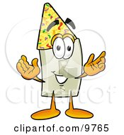 Clipart Picture Of A Light Switch Mascot Cartoon Character Wearing A Birthday Party Hat by Toons4Biz